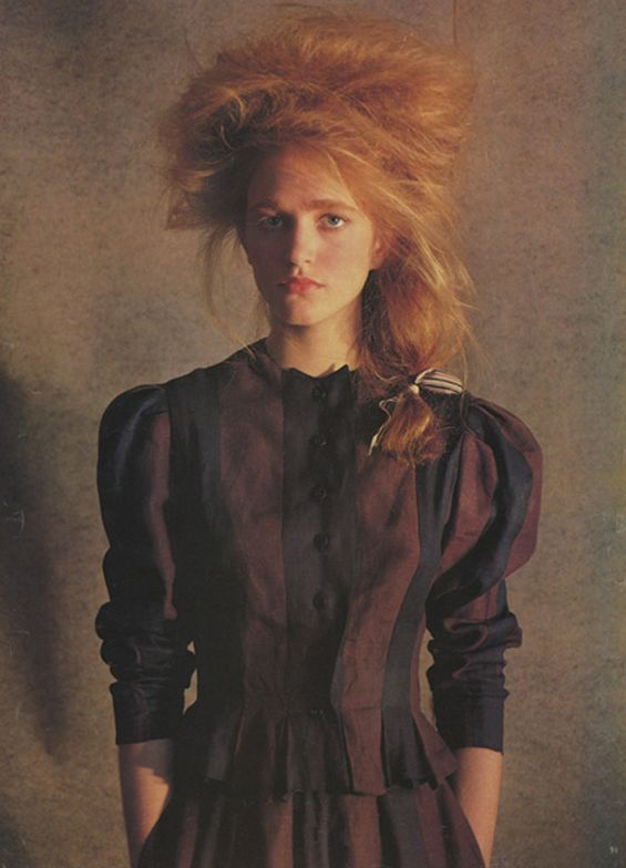 A Belle Époque  kind of look in this famous photo published in British Vogue, 1983. For more on this great hair by Harry King, visit WorldGreats www.helenoppenheim.com  Hair by Harry King.  Makeup:  Rose Bonomo Model: Maria Von Hartz,  Photo:  Barry Lategan for British Vogue, 1983  Editor: Grace Coddington