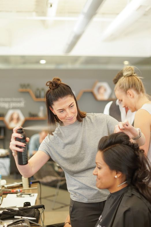 A model gets the finishing touch at the Living Proof Style Lab.