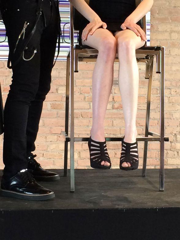 On left leg: MAC Strobe Cream moisturizer
