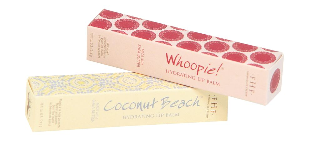 FarmHouse Fresh Lip Balms in Whoopie! and Coconut Beach: Made with 96% natural ingredients, these balms feature thick, creamy, long-wearing formulas containing shea butter, coconut oil, jojoba oil, olive fruit oil and sunflower seed oil, soothing dry, chapped lips. Whoopie! smells like sweet whoopie pie desserts, and Coconut Beach smells like a tropical beach vacation.