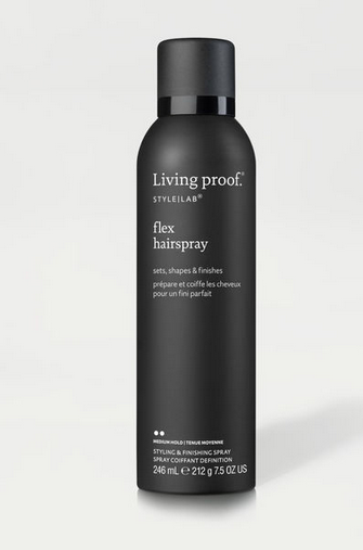 <p><strong>Living Proof FLEX HAIRSPRAY:</strong> Being able to spray hairspray and still run your fingers through your hair shouldn't be revolutionary. This working hairspray is formulated with our Flexible Web Technology to hold—not freeze—your hair in place.</p>