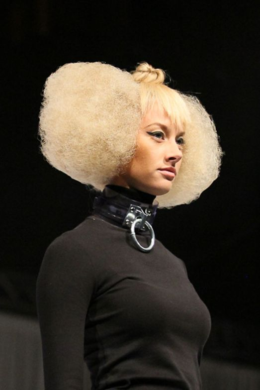 Textured cut and color by Aveda Guest Artists Lupe Voss and Geno Chapman.