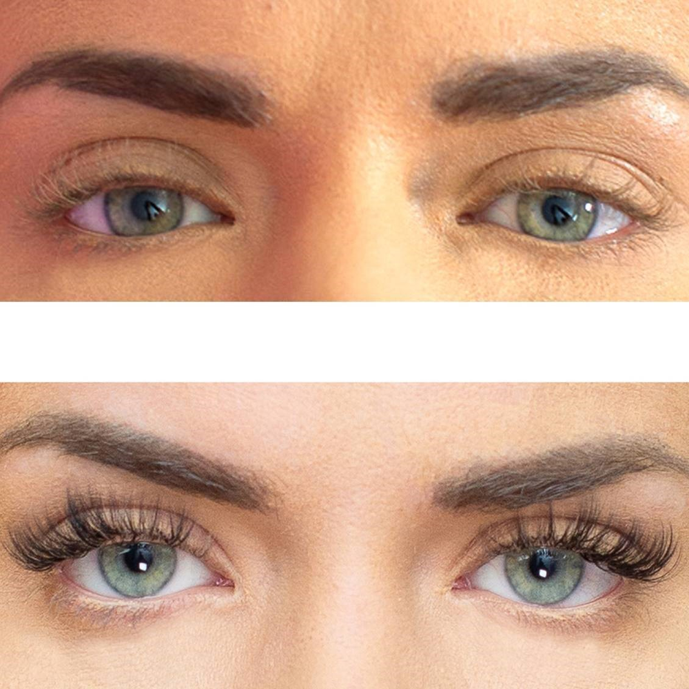<strong>Before and after Volume lashes. The fan-style technique transforms lashes from sparse to spectacular!</strong>