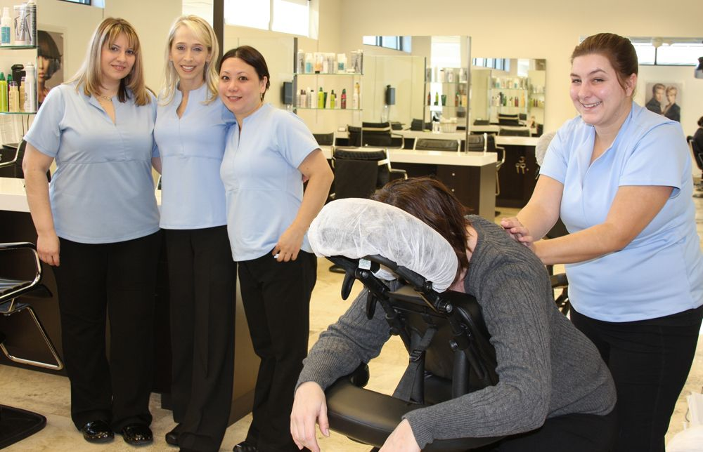 Estheticians gave free massages to guests.