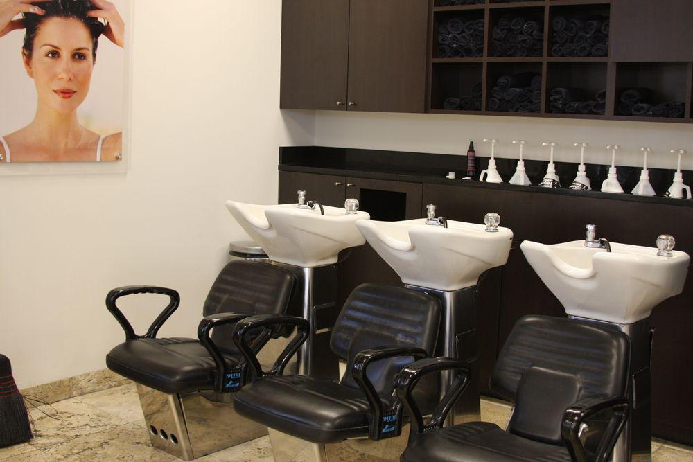 Newly designed shampoo area.