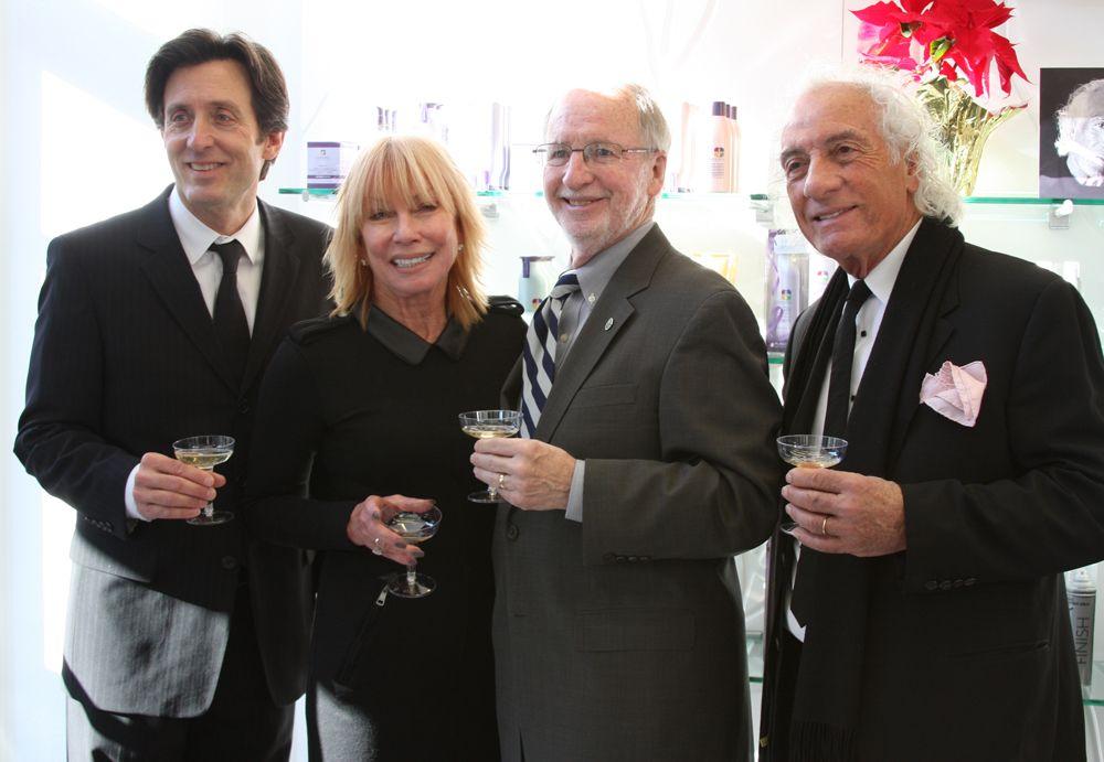 (From left) Mario Tricoci  Senior Vice President Larry Silvestri, Cherl Tricoci, Skokie Mayor George Van Dusen, Mario Tricoci