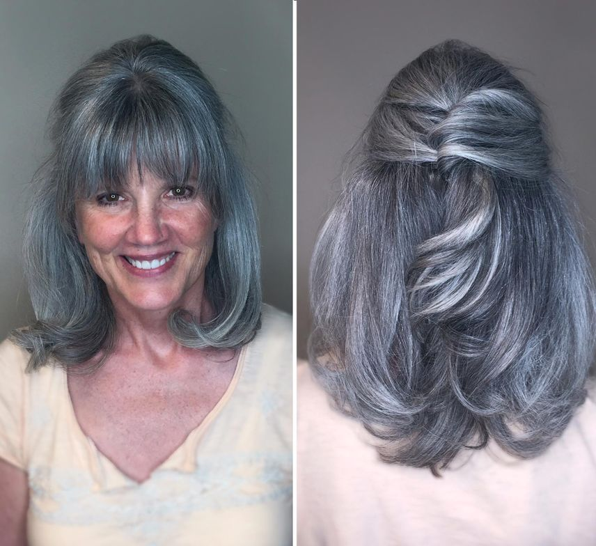 """Kristina Cheeseman's (@cheesmandoeshair) aunt (pictured here) loves her natural color but wanted more shine and a true silver hue. <br /><br />To achieve this look, Cheeseman used Goldwell's Colorance 5-minute """"Icy"""" toner - a quick service that gave a little oomphto her hair color."""