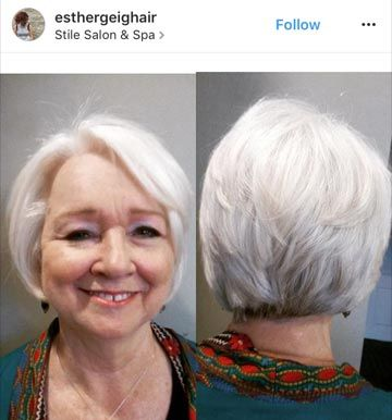 """""""A beautiful bob for a beautiful lady,"""" says haircolorist @esthergeighair. Here's an example of whitehair at its finest!"""