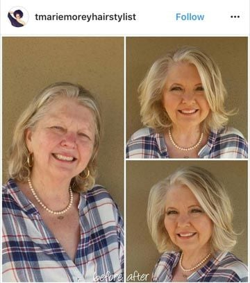This hair and makeup transformation by @tmariemoreyhairstylist gave this client exactly what she wanted. She walked out feeling and looking like a million bucks.