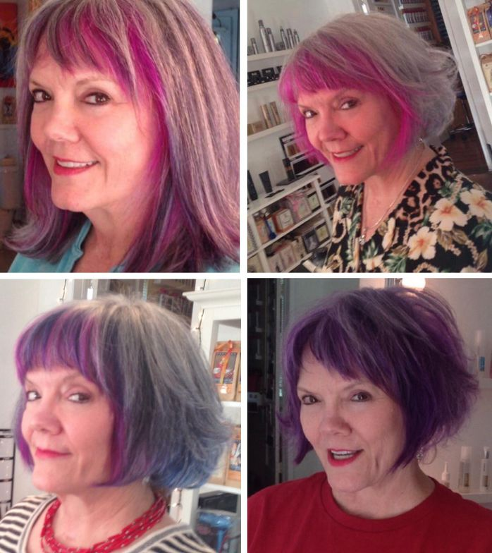 Jean Gillmore's client is a Disney animator for a living. She really likes wearing pastel and vivid hair color.