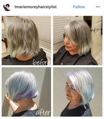 """Salt and pepper hair before (top pics) and after (bottom pics). Notice in the after a fun streak of color! This is a nice way to give a little """"edge"""" to your client's finished look without it looking overdone."""