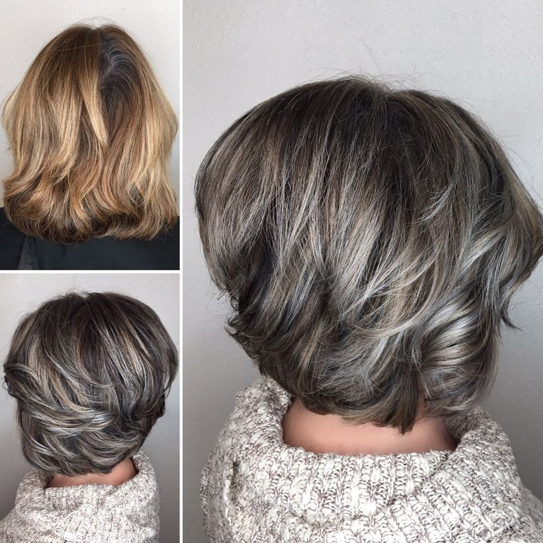 This client was tired of her blonde going brassy as she attempted to hideher grays. Her coloristtransformed her by incorporating both blonde and gray to ease the hair color stress. The result? Sophistication!