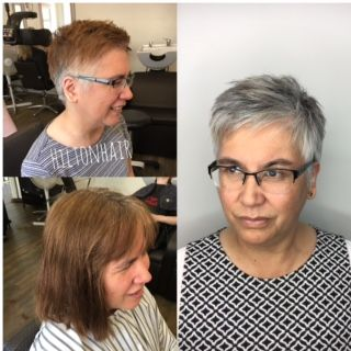 This client wanted to get rid of her box dyed hair without coloring, so stylist Laura Hilton gave her a short pixie and revealed her naturalsilver gray.