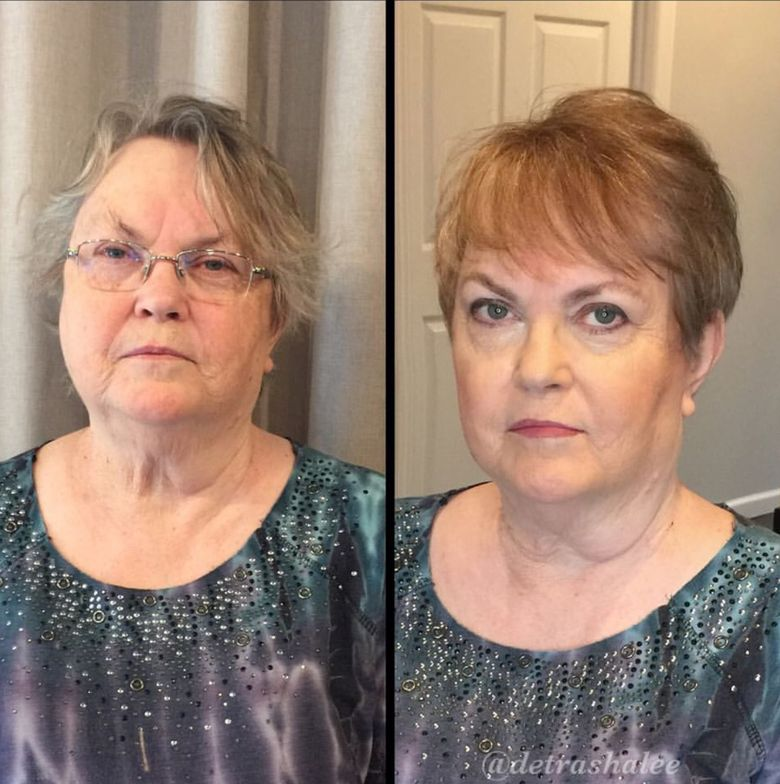 What a before and after! This client was colored with Matrix Socolor 507N and highlighted with Matrix Lightmaster. Her lookwas completed with a complementary cut and makeup to highlight her features.