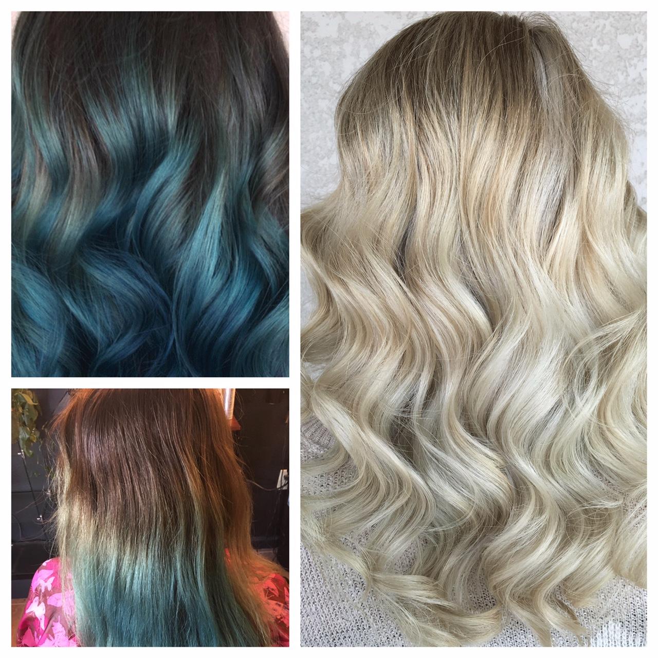 Vivid Blue to Bright Blonde Balayage Beauty