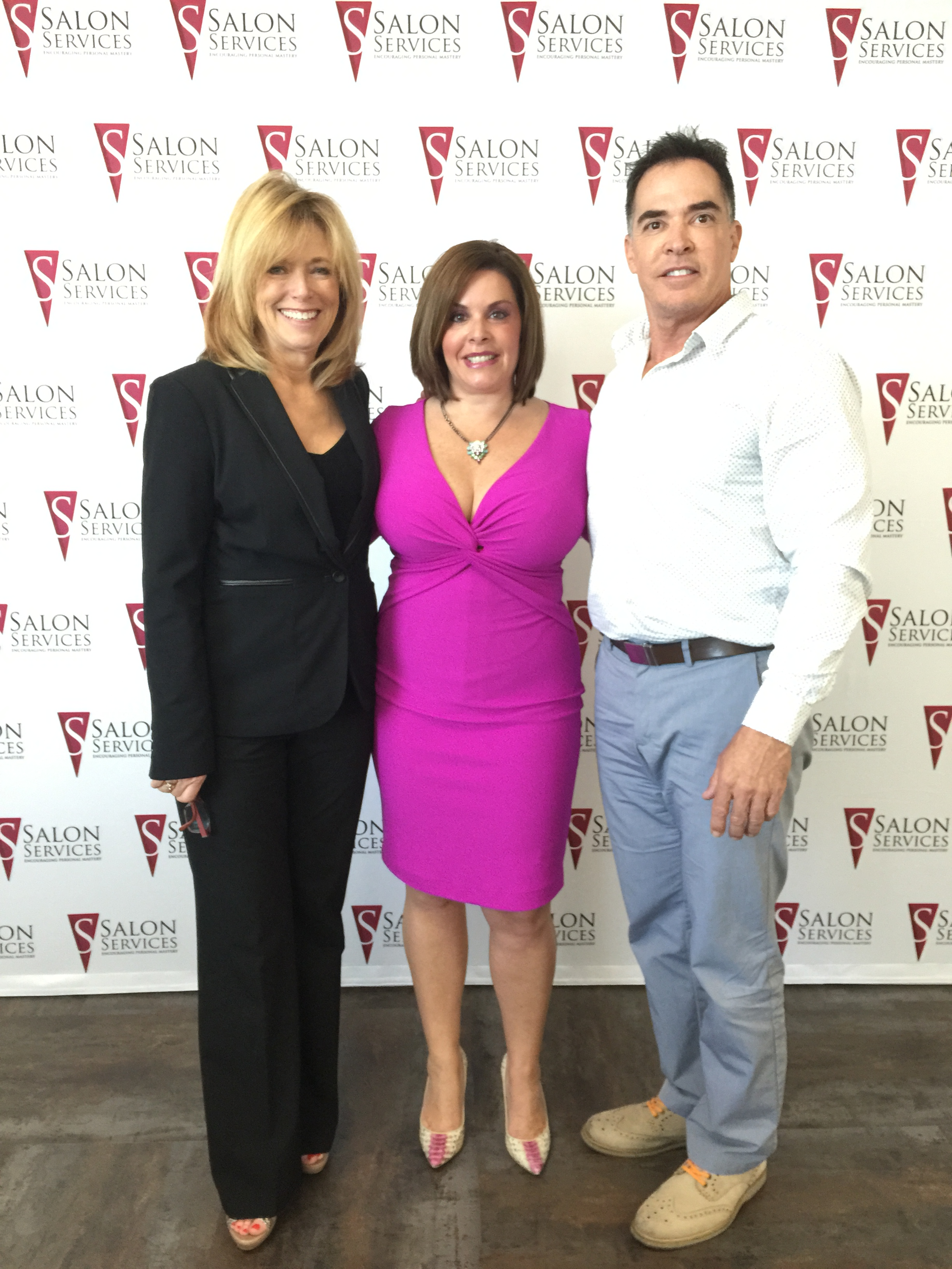 From left to right:  Sydney Berry owner and president of Salon Services, Alicia Grande, CEO of Grande Naturals and George Learned, owner and vice president of Salon Services.