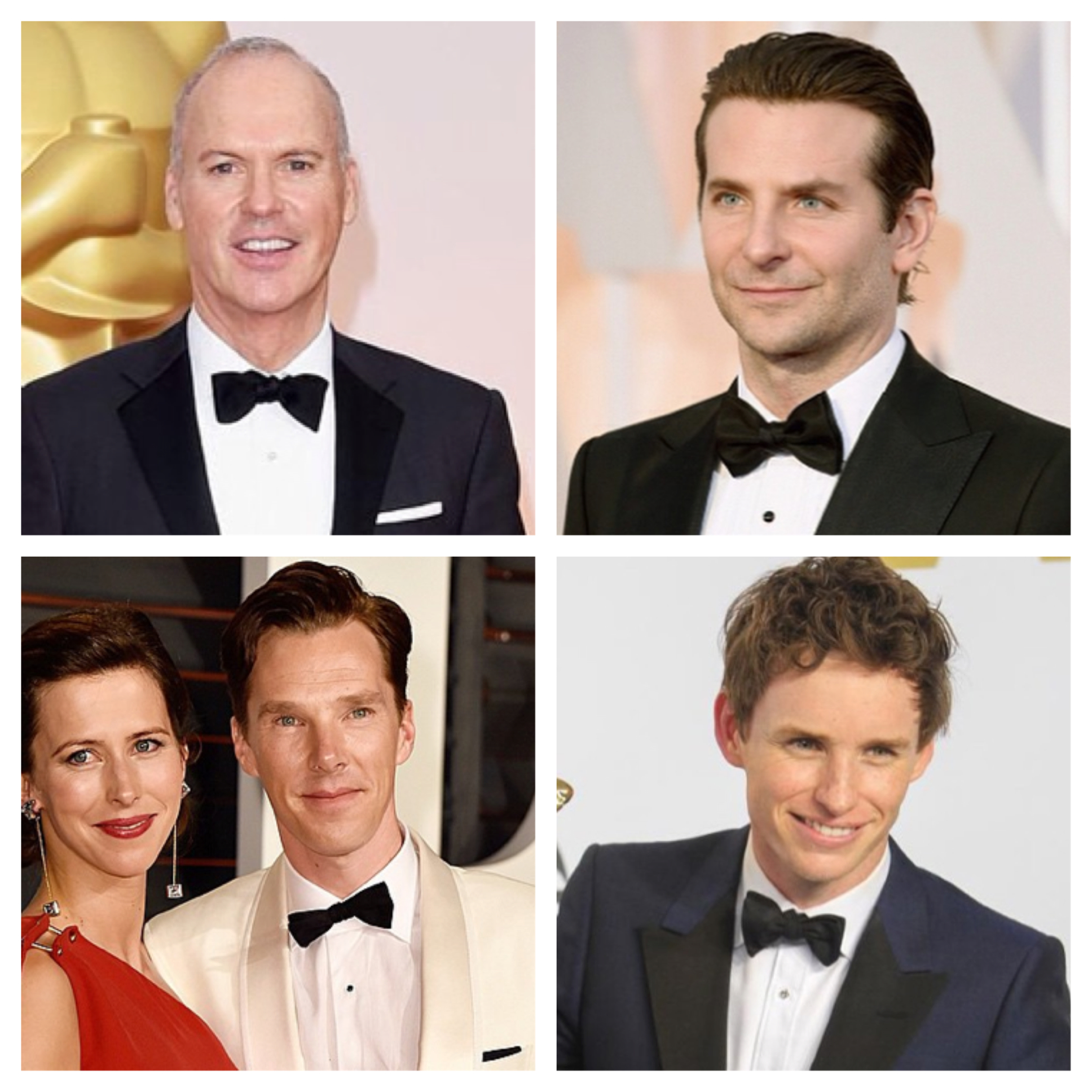 Michael Keaton (top left), Bradley Cooper (top right), Benedict Cumberbatch (bottom left) and Eddie Redmayne (bottom right)