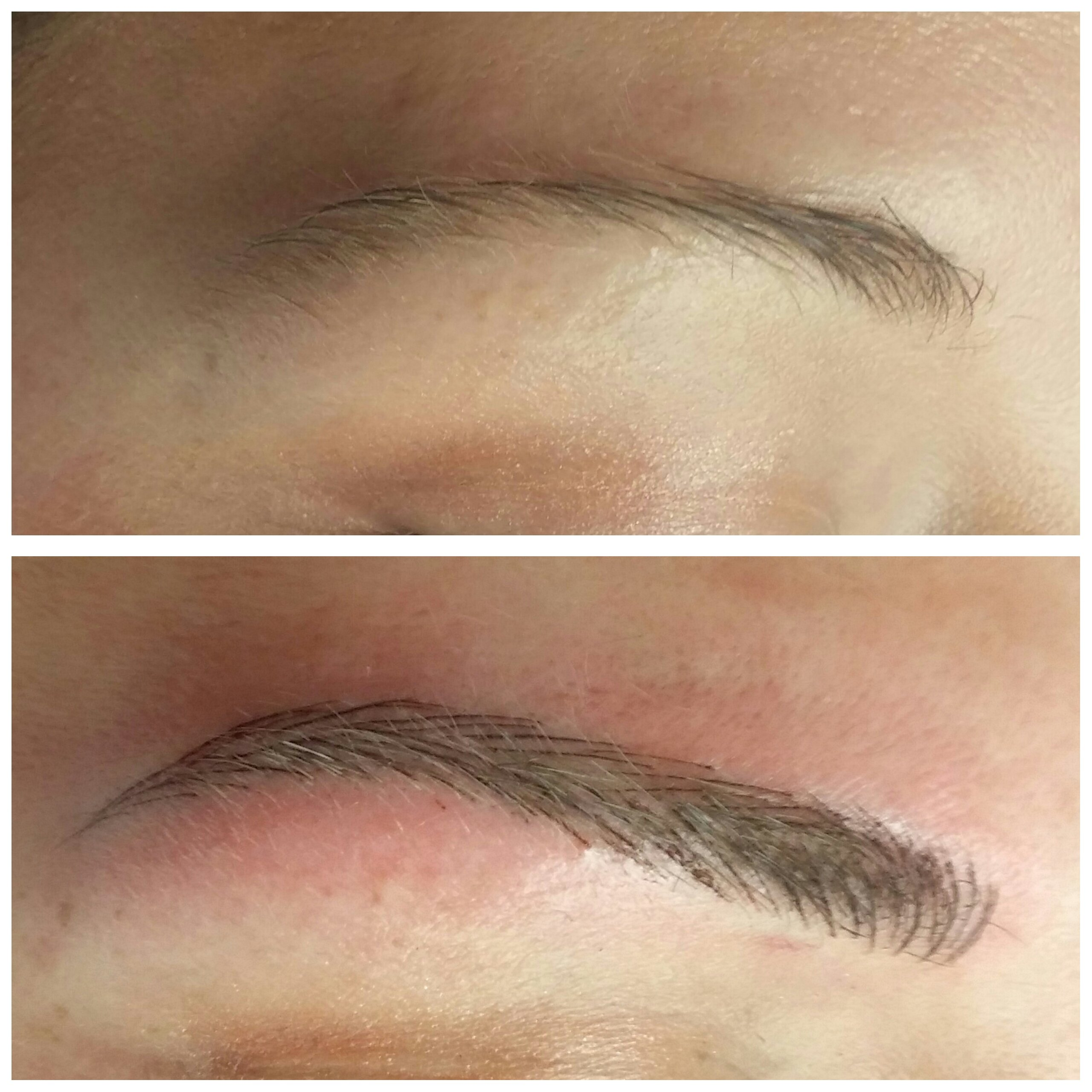 Before and after images demonstrate the result of the Microblading 3D Brow Enhancement service.