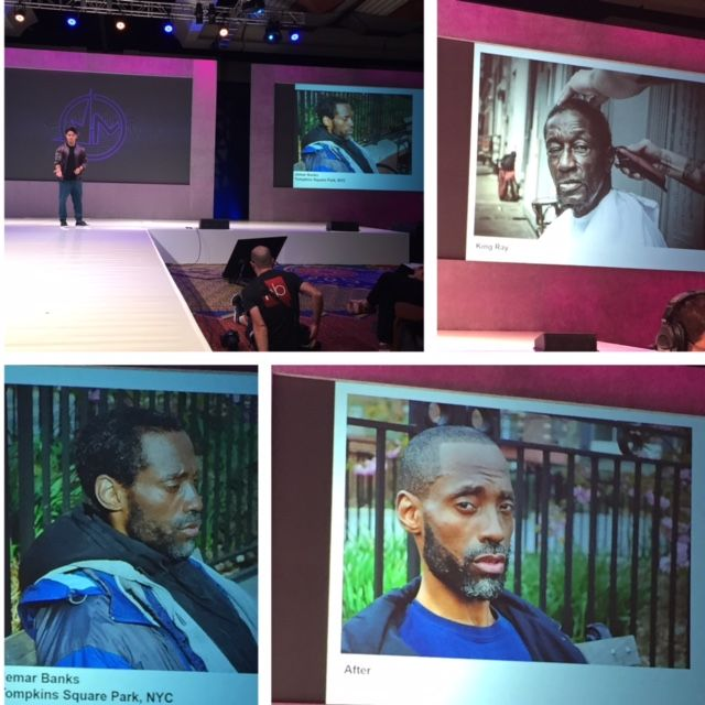 Mark Bustos offered an emotional presentation on his haircutting for the homeless campaign #BeAwesomeTo Somebody