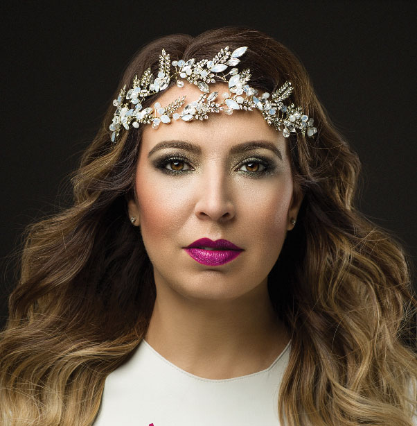 Pink Pewter founder and designer Mireya Villarreal models the new makeup line, launching June 2017.