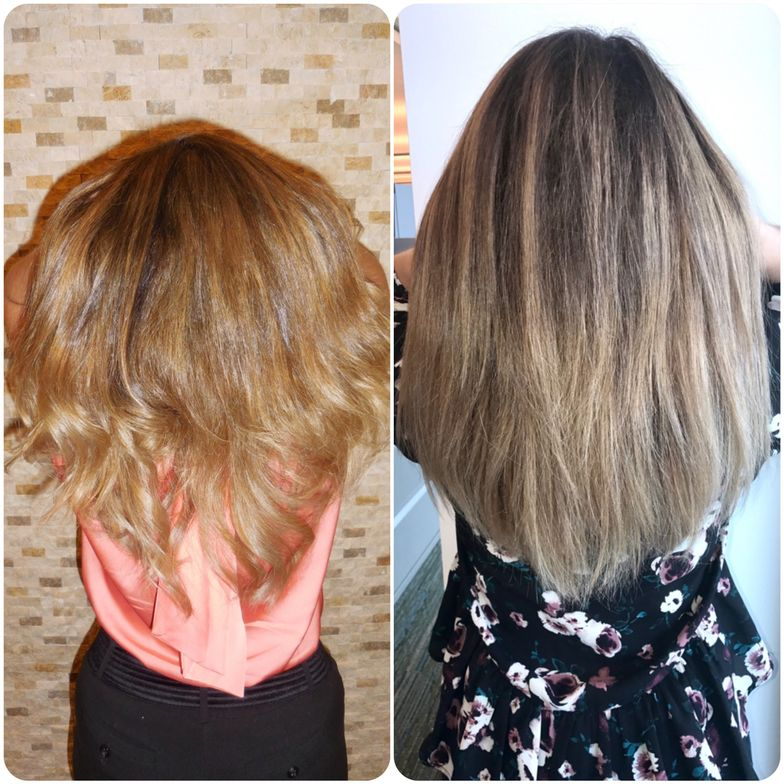 """""""I've included this picture to show how seriously vital lighting is in hair! We finished at night and lighting was poor- her hair was translating in pictures as brassy. She sent me a picture during the day in natural lighting and wow! It looks so much closer to its true color."""""""