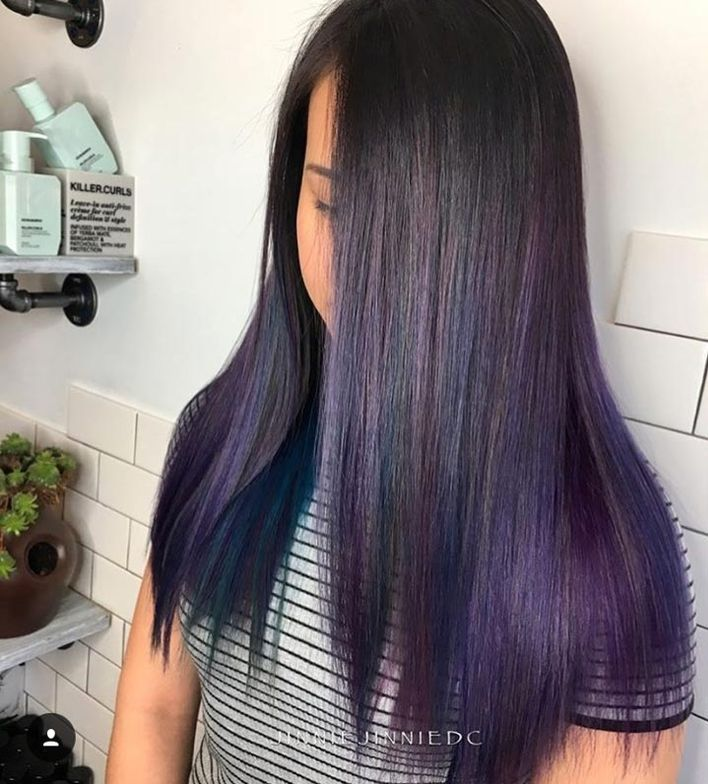 <p><strong>#oilslick - </strong><strong>16,000 tags:</strong></p> The oil slick trend, taken from the iridescent look of oil in a puddle of water, is an answer to those much-requested creative colors for dark-haired clients. The technique features a dark base and requires less-extensive lightening.