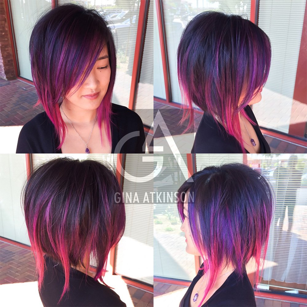 HOW-TO: Purple & Wild Orchid Highlights on a Disconnected A-Line Haircut
