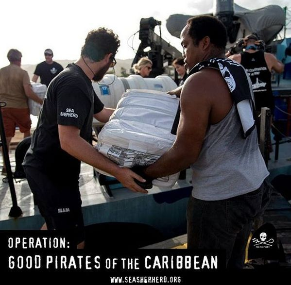 Volunteers loading the M/V John Paul DeJoria for its humanitarian mission to the Caribbean. Photo via Instagram.