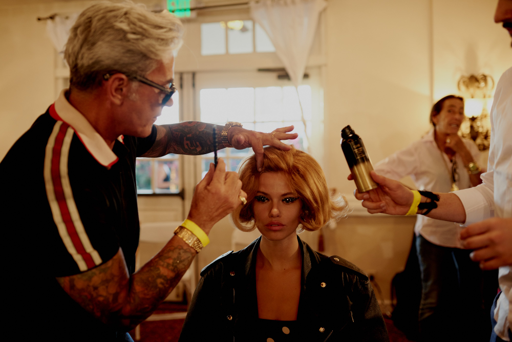 Oribe Canales backstage.<br />Canales keyed the show.