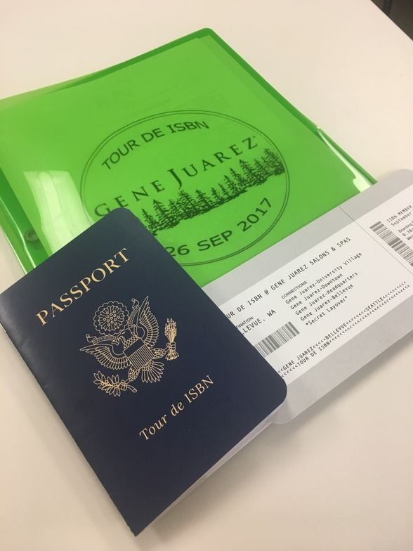 <p>The ISBN tourists were issued passports which then were stamped with a Gene Juarez stamp.</p>