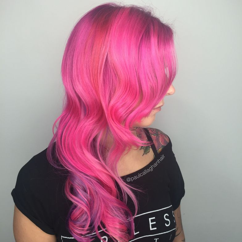 Olaplex #2 or clear. Fashion colors all by Manic Panic: ROOT - Clear, Hot Hot Pink and Raven  (mix until a very deep pink) Melt into - Clear + Pink fFamingo, Clear + Cotton Candy Pink, Clear + Mystic Heather and Clear + Hot Hot Pink + Electric Banana. (just a spot)  Process for 30 minutes.