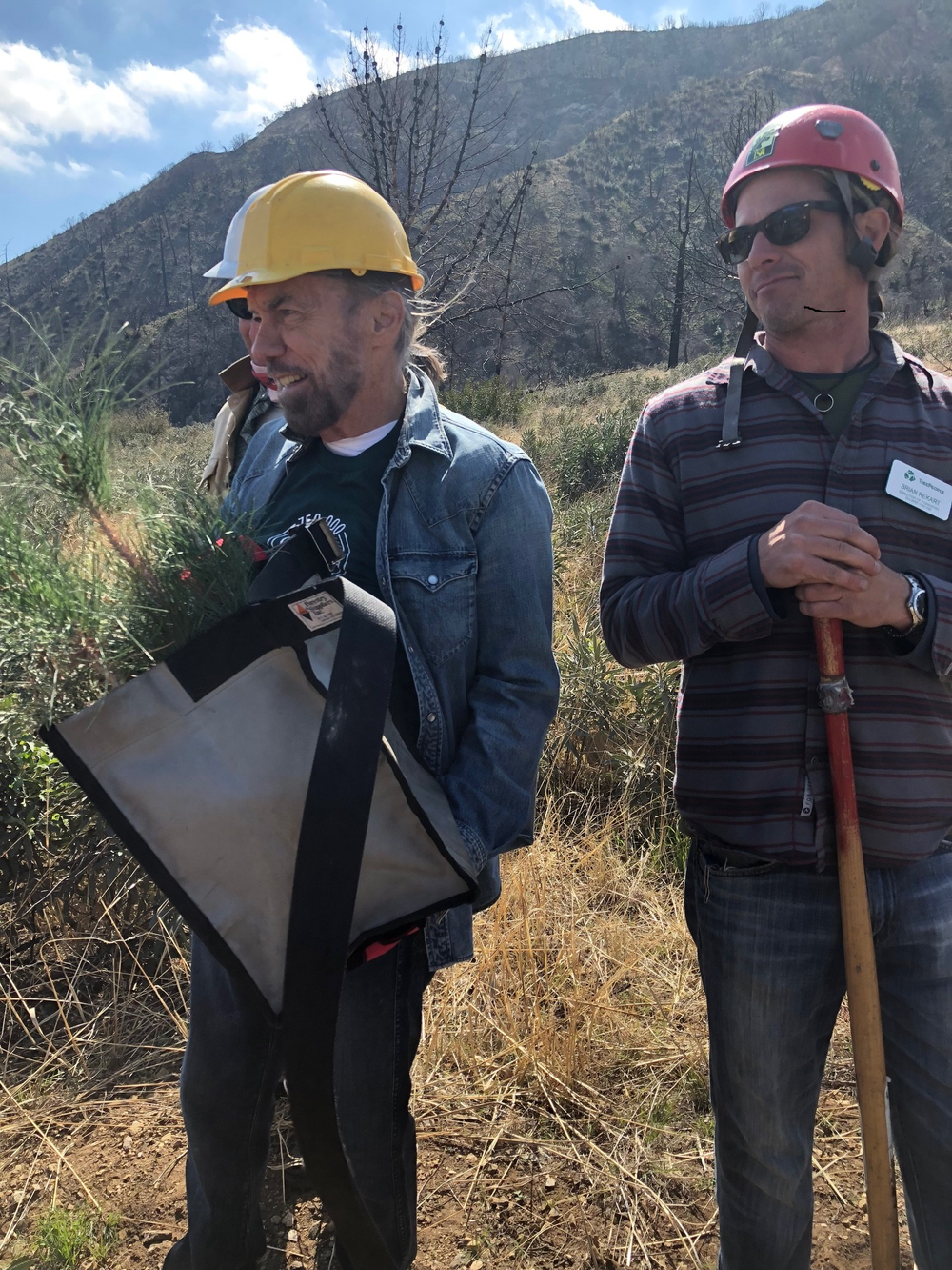 John Paul DeJoria preparing to plant in the Angeles National Forest.