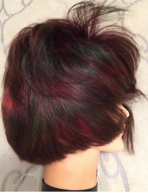 """""""This look features various bold colors that melt like a waterfall! I used the pixel technique, with different size squares and rectangles,"""" says colorist J.Michael Sward."""