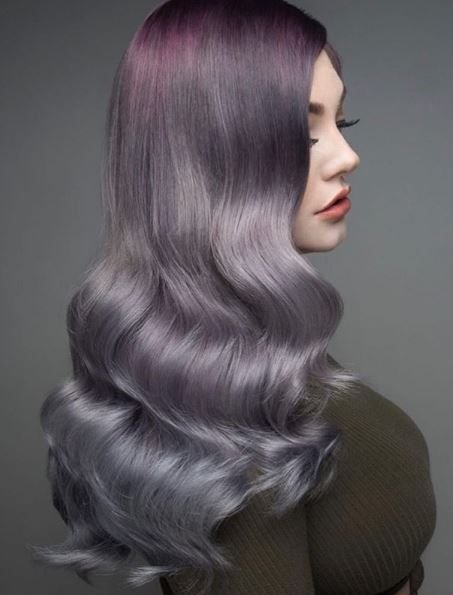 This dreamy silver and mauve melt used Pravana's Color Rush! @presleypoe, this is #haircolorgoals.
