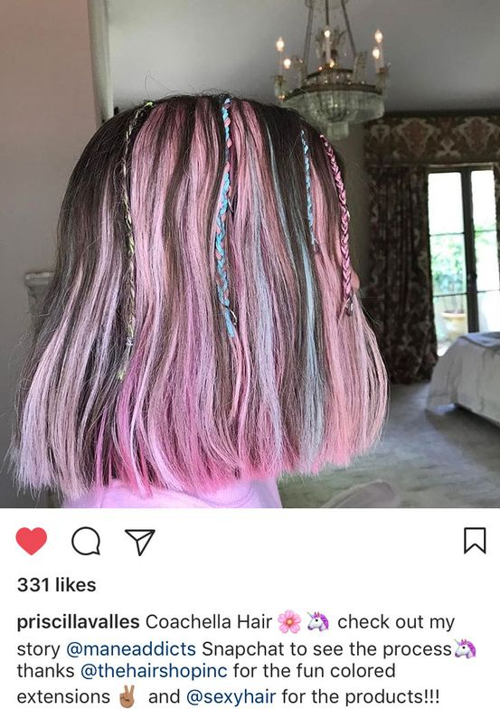 <p>Via @priscillavalles. Priscilla Valles used The Hair Shop colored extensions for the candy-colored creation, with Sexy Hair products to style.</p>