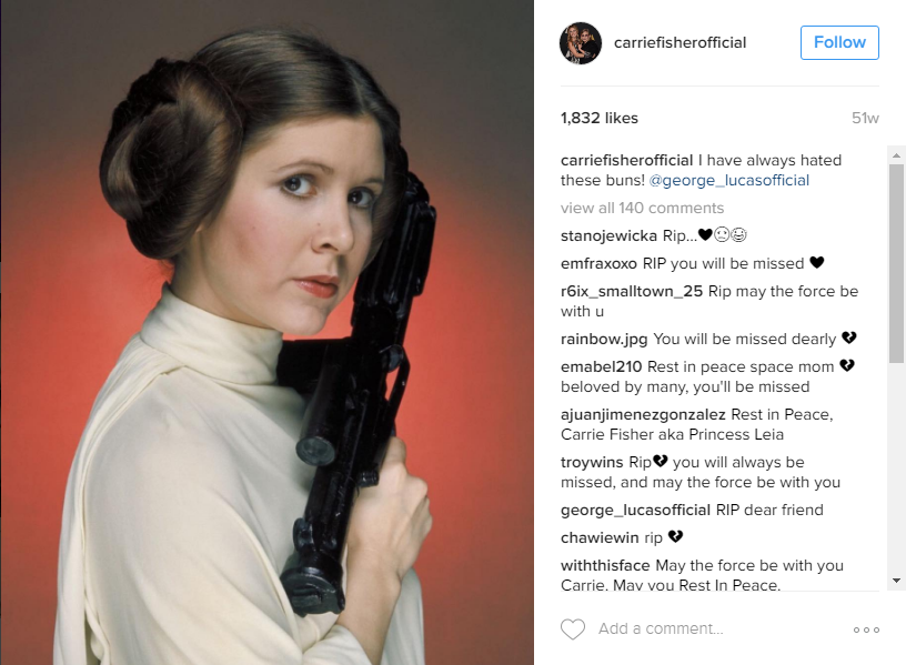 Note the late Fisher's caption from when she posted this on her personal Instagram account last year, @carriefisherofficial @carriefisherofficial