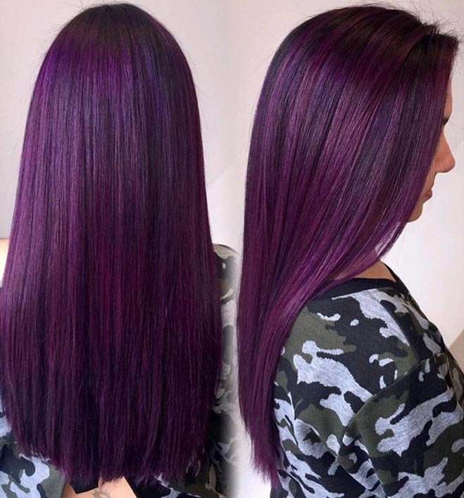 <p><strong>#purplehair - </strong><strong>2,697,000 tags:</strong></p> In the rainbow of color choices, purple reigned in 2016. From lilac to grape to plum, purple hair color found a way to look lovely on a variety of skin tones.