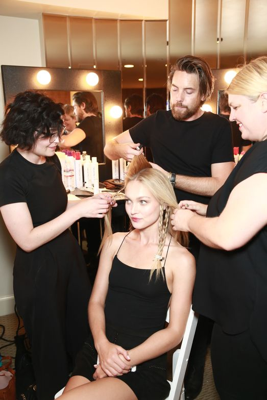Lucie Doughty (far right) backstage at the Rachel ZoeSpring 2018 collection presentation.