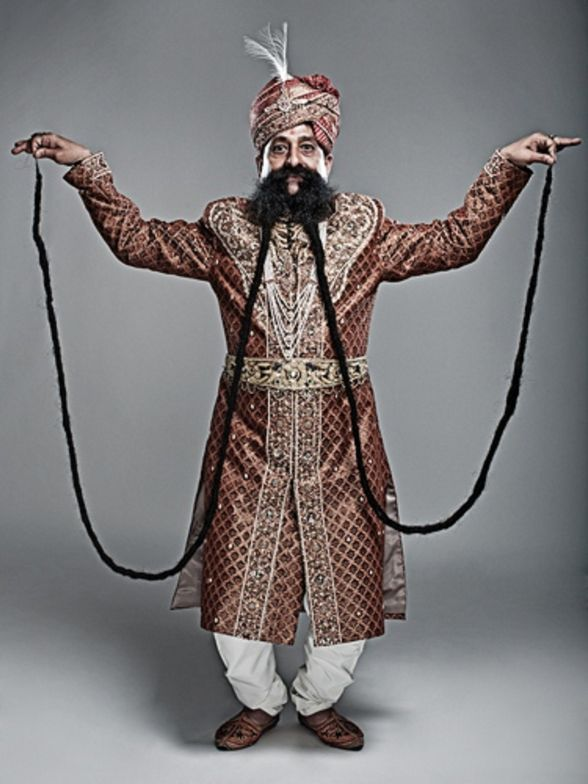 Ram Singh Chauhan is reported to have the longest moustache, 14 feet!