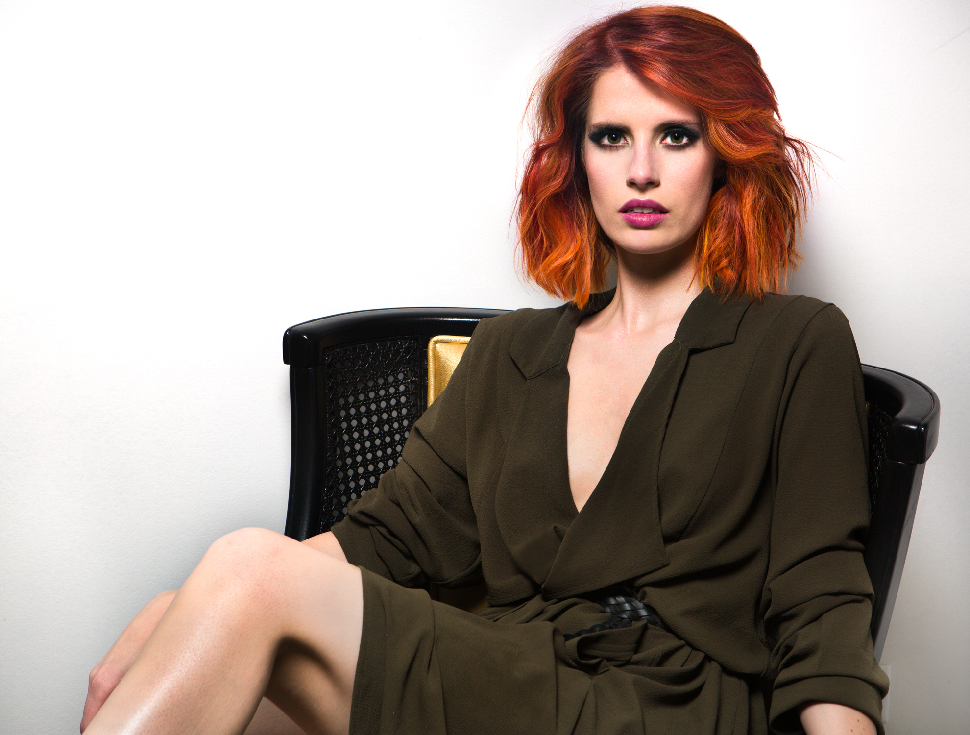 Aveda Formula: Blonde Meets Fire Red Balayage with a Blunt Texturized Bob