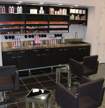 """We chose to focus the color area as a potential income-generating area. Our design invites clients into the fascinating world of color. Color formulation and mixing is executed directly in front of the client's eyes, getting them more interested in what is really taking place, generating a curiosity for more involved coloring techniques."""