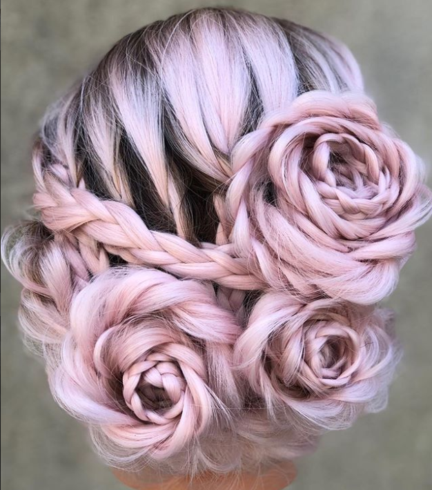 Alison Valsamis' rose braided updo seen around the world.