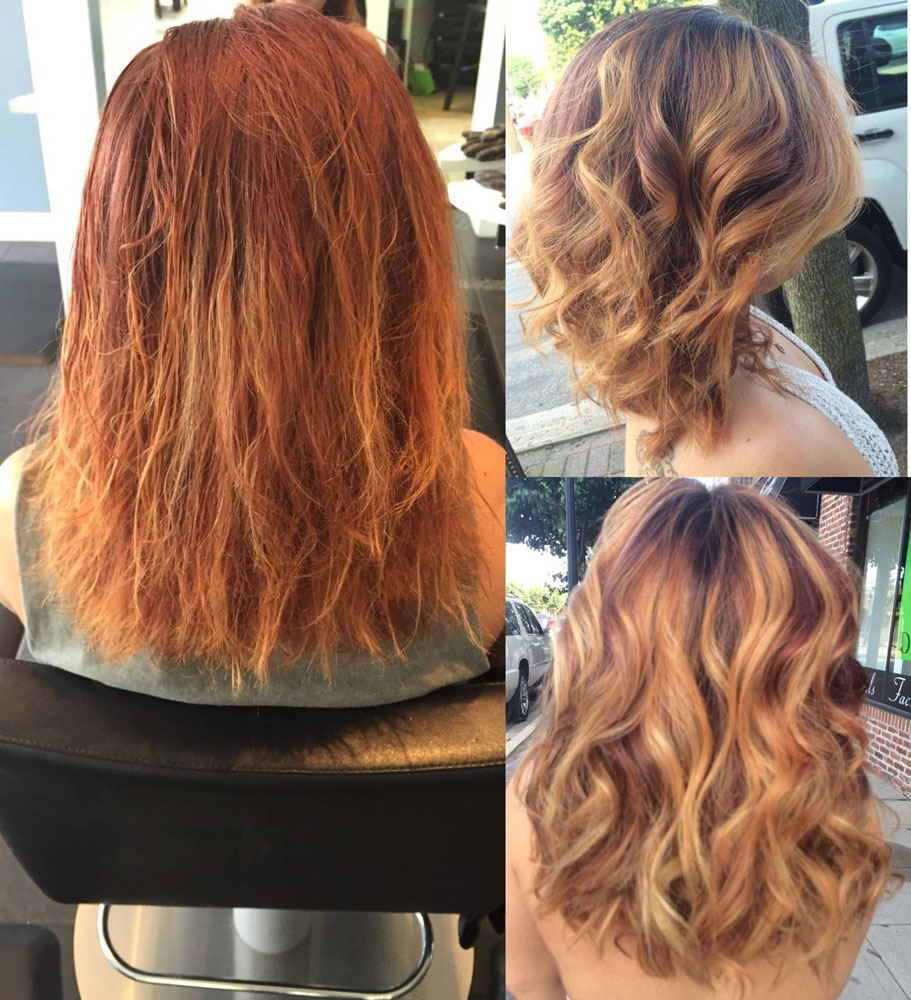 Color Correction: Damaged and Brassy to Auburn and Gold