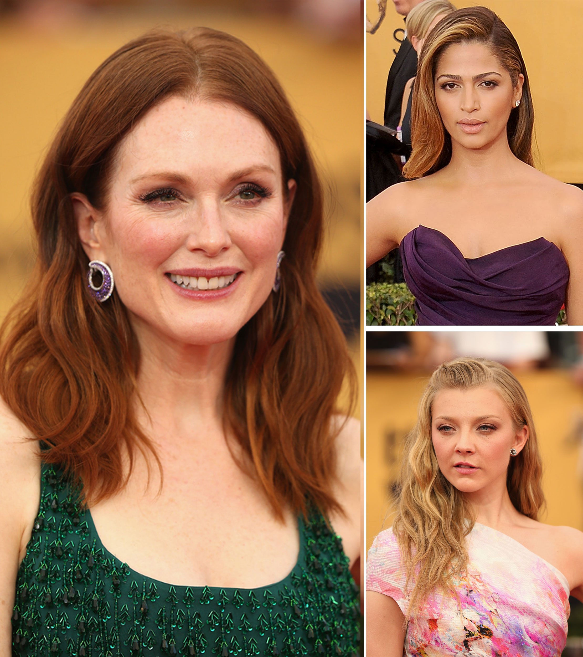 Julianne Moore (left), Camila Alves (top right) and Natalie Dormer (bottom right) show off wavy styles at the 2015 SAG Awards.  (photo credit: Getty Images) Getty Images