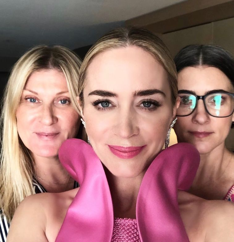 SAG Glam: Hairstylist Laini Reeves, actress Emily Blunt and makeup artist Jenn Streicher