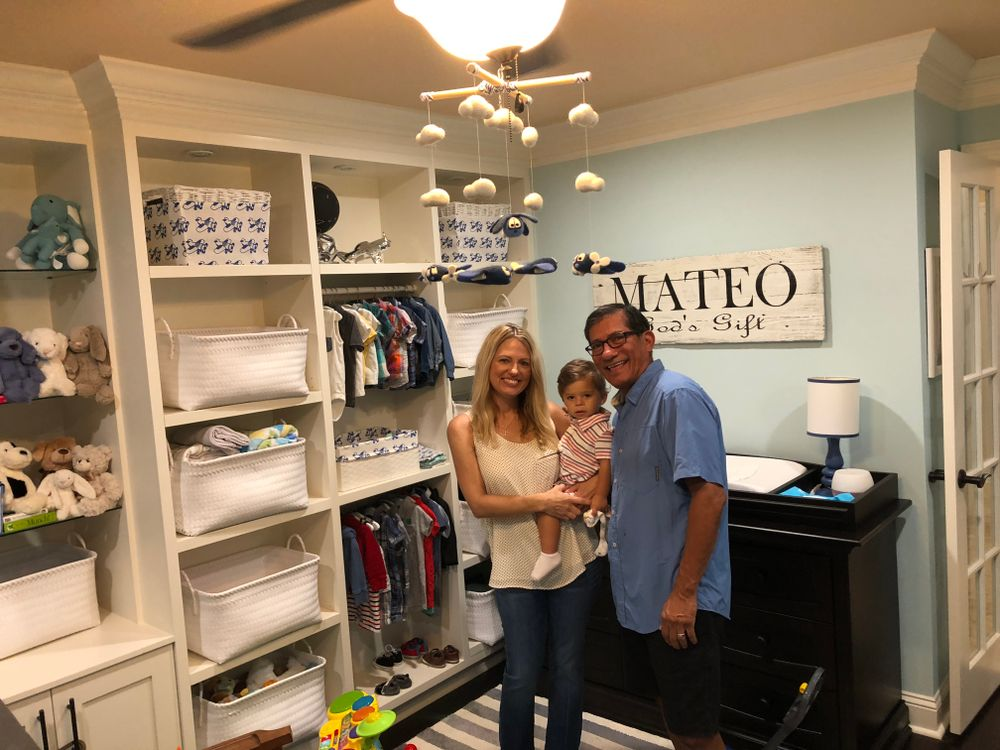 Sam Villa with wife Lisa and son Mateo in Mateo's room in the family home in their Fleming Island, Florida home.