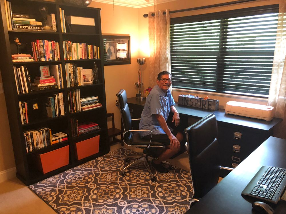 Sam Villa reflects in his home office in his Fleming Island, Florida home.