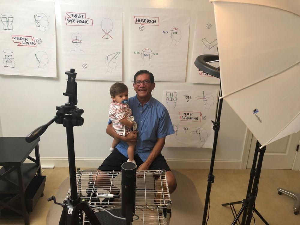 Sam Villa and son Mateo in Villa's studio in his Fleming Island, Florida home.