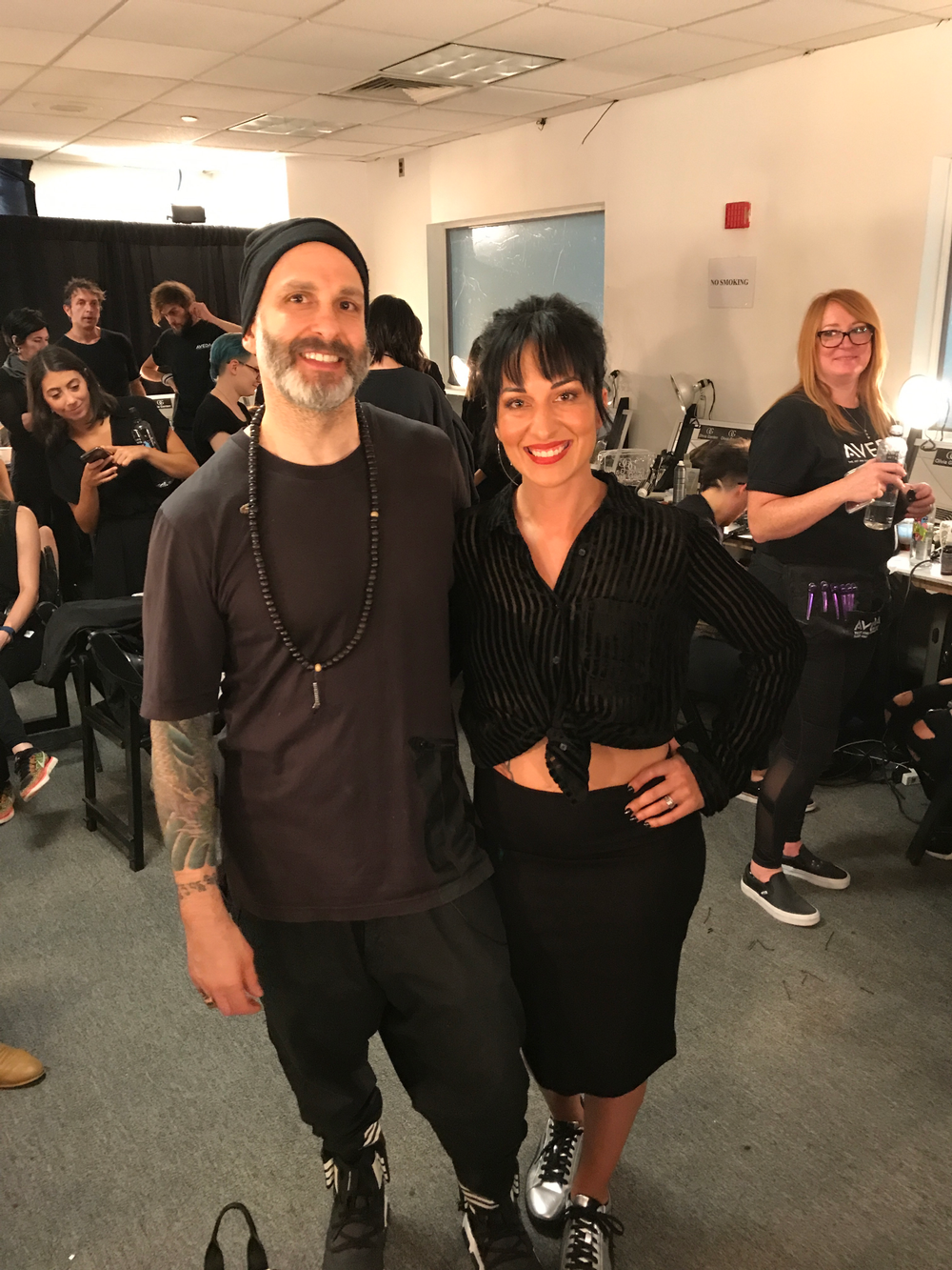 Aveda's Jon Reyman and Sarah Shultz behind the scenes at the Leanne Marshall show, NYFW, SS18.