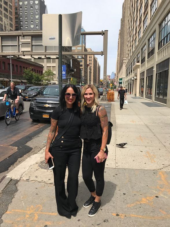Sarah Shultz and Andrea Krock on break from Aveda's Advanced Runway Styling Course in NYC.